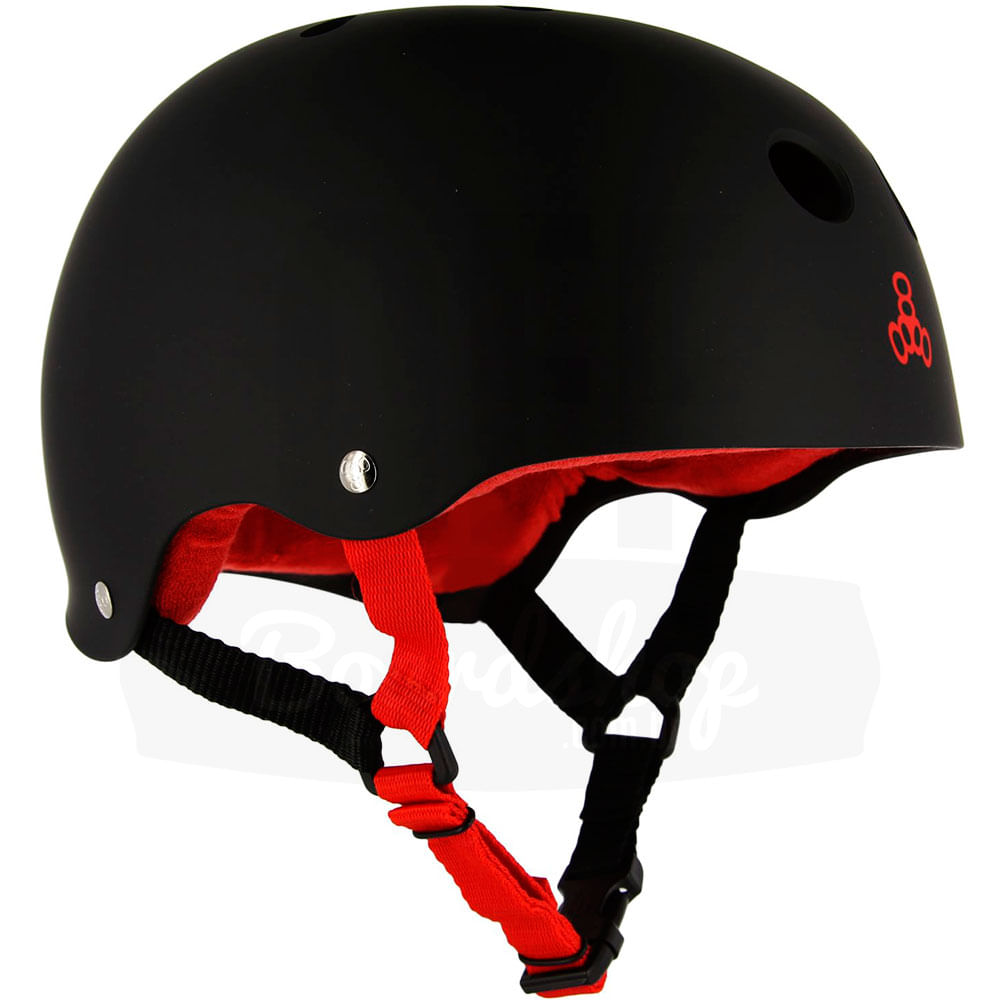 Capacete-Triple-Eight-Brainsaver-Black-Rubber-Red-Sweatsaver